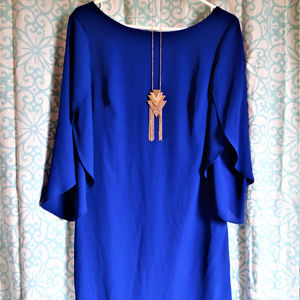Blue evening mini dress with necklace